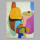 IARTS Hand Painted Modern Abstract Mixed Soft Colors Yellow & Pink Oil Painting On Canvas with Str