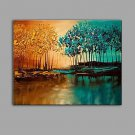 Hand-Painted Knife Scenery Tree Oil Painting Wall Art With Stretcher Frame Ready To Hang