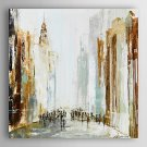 Hand Painted Oil Painting Abstract People Walking In The City with Stretched Frame 7 Wall Arts