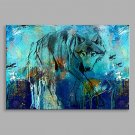 Abstract Oil Painting Blue Wolf is Searching For Something Framed Handmade Oil Painting For Home D
