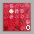 IARTSHand Painted Modern Abstract Red Color Round  Wall Art For Home Decor Stretchered Ready To Ha