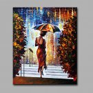 Hand-Painted Abstract The Woman In The Walk In The Rain  Modern Classic One Panel Canvas Oil Paint