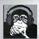 Hand Painted Listen Music Gorilla Canvas Oil Paintings Black White Wall Art Animal Oil Painting fo
