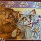 BOULANGER Anthropormorphic Cats with Daisy Border Antique Vintage Postcard 1909