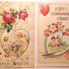 2 Unsigned Winsch Antique Vintage Valentine Postcards-Hearts Winged Cupid Cherub