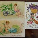 Cupids Cherubs Wings Hearts Flowers Lot of 5 Antique Vintage Valentine Postcards