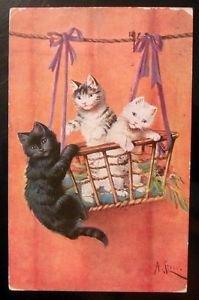 Cats Kittens in Hanging Basket-Artist Signed-Antique VTG Animal 1910 POSTCARD