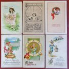 Children New Year-Birthday-Christmas-Lot 6 Antique Vintage Postcards Early 1900s