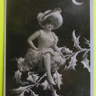 Fantasy Lady Elf/Holly Tree Crescent Moon-Original Antique RPPC Photo Postcard