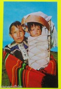 Navajo Mother Child Cradleboard A-Wee T-Saal American Indian VTG Postcard AZ