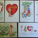 Cupids with Wings & Children Hearts Lot of 6 Antique Vintage Valentine Postcards