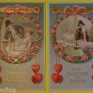 Lot of 2 Antique Vintage Valentine Postcards Early 1900-Colonial Couples Hearts