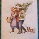 VESELE VANOCE - CHRISTMAS CHILDREN HAULING TREE SNOW SLED - VINTAGE POSTCARD