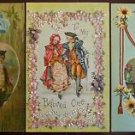 Cupids Wings Flowers Spiderwebs Lot of 3 Antique Vintage Valentine Postcards