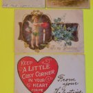 Lot of 5 Mixed Antique Vintage Valentine Postcards Early 1900 Undivided Backs