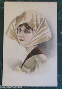 Pretty Lady Head Scarf-Antique Original Artist Undivide Back Argentina POSTCARD