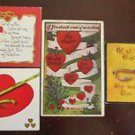 """Hearts & Ribbons Poems """"As Is"""" Lot of 4 Antique Vintage Valentine Postcards"""