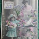 MOTHER & YOUNG GIRL FLOWER STORE-HAND TINT-ANTIQUE FRENCH RPPC PHOTO POSTCARD