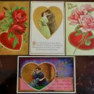 Couples Hearts Flowers Lot of 4 Antique Vintage Embossed Valentine Postcards