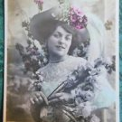 PRETTY LADY HAT & PEARLS-HAND TINTED-ANTIQUE EDW PARIS 1906 RPPC PHOTO POSTCARD