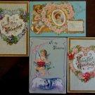 Cupids Wings Flowers Spiderwebs Lot of 4 Antique Vintage Valentine Postcards