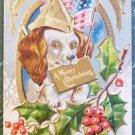 "Patriotic Dog with USA Flag-Christmas Antique Postcard-""Xmas Dogs Series"""