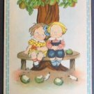 Original Grace Drayton Friendship Postcard Tuck's-Boy Girl Sits Apple Tree 1913