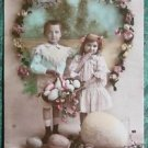 YOUNG GIRL & BOY EGGS HAND COLORED-ANTIQUE FRENCH REAL PHOTO EASTER POSTCARD