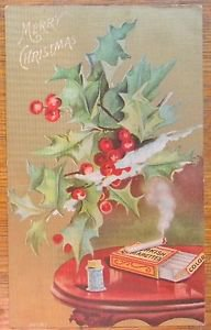 CHRISTMAS HOLLY TURKISH CIGARETTES GILT-UNDIVIDED BACK ANTIQUE VINTAGE POSTCARD