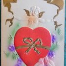 CUPID HEART BOW DOVES-ANTIQUE EMBOSSED AIRBRUSHED VALENTINE DAY POSTCARD
