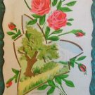 PINK ROSES with MINI SCENE TREE & ROAD - VINTAGE HANDMADE HAND PAINTED POSTCARD