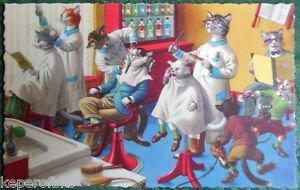 ANTHROPOMORPHIC DRESSED CAT POSTCARD-MAINZER HARTUNG-BARBER SHOP MADNESS #4880