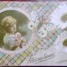 PRETTY LADY-BUTTERFLY-DAISIES - La FAVORITE VINTAGE RPPC REAL PHOTO POSTCARD