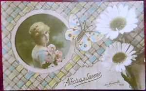 PRETTY LADY-BUTTERFLY-DAISIES - La FAVORITE VINTAGE RPPC REAL PHOTO POSTCARD
