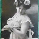 SEXY EDWARDIAN LADY-I SEE YOU-ANTIQUE VINTAGE 1907 GREMAN? RPPC PHOTO POSTCARD