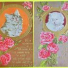Pretty Kitty Cats in Cameo Roses Carnations & Poems-2 Vintage Winsch Postcards