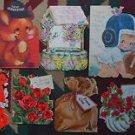 11 Vintage HALLMARK Die Cut Greeting Cards-Football Helmet Boy-Violets-Giraffe