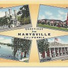 MULTIVIEW GREETINGS from MARYSVILLE, CALIFORNIA ANTIQUE LINEN POSTCARD