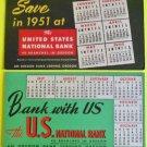 2 Advertising Blotters United States National Bank Serving Oregon 1951 Calendar