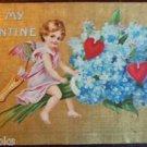 Angel Winged Cupid Gold Gilt Linen - Antique Vintage 1909 Valentine Postcard