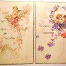 2  Antique Vintage Valentine Postcards-Flowers Hearts Winged Cupid Cherub 1912