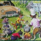 ANTHROPOMORPHIC DRESSED CATS POSTCARD-MAINZER HARTUNG-BLACK BEARS COOKOUT #4922