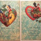 """2 Antique Vintage Postcards - Silhouette Young Girl Peacock """"To My Valentine"""""""