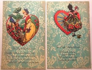 "2 Antique Vintage Postcards - Silhouette Young Girl Peacock ""To My Valentine"""