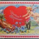FLYING CUPID HEART FOR GET ME NOTS-VINTAGE EMBOSSED VALENTINE'S DAY POSTCARD