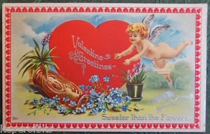 FLYING CUPID HEART FOR GET ME NOTS-VINTAGE EMBOSSED VALENTINE'S DAY POSTCARD