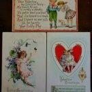 Children Young Girls Boys Butterfly Dog Lot of 3 Antique VTG Valentine Postcards