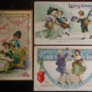 3 Antique Vintage Valentine Postcards-Flowers Colonial Children Couple Dancing