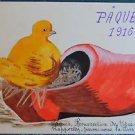 CHICK NEST n WOOD SHOE-PAQUES 1916-VINTAGE ORIGINAL HANDPAINTED EASTER POSTCARD