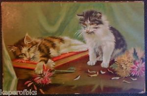 2 Cats Kittens Playing with Dahlia Flower-Artist Card-Vintage Animal POSTCARD
